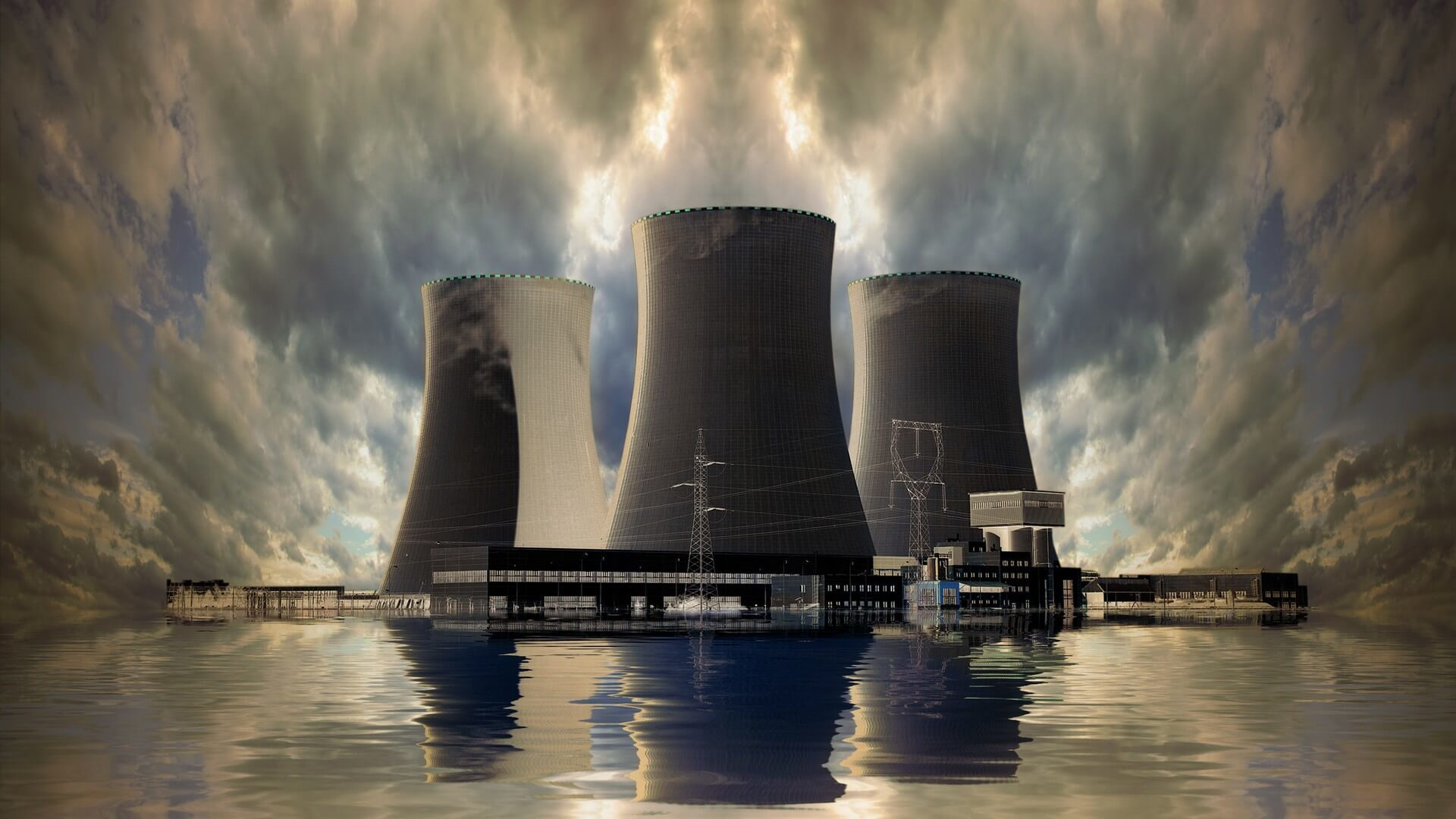 Nuclear power plant on the coast. Ecology disaster concept.